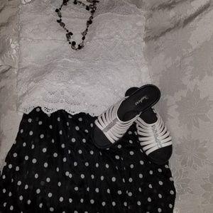 Avenue Polka Dot Crinkle Maxi Skirt NWT